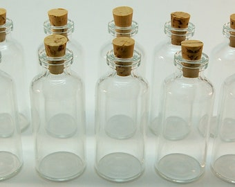 20 Mini Glass 10 ml Bottles with Corks for DIY Wedding & Shower Favors, Message in a Bottle, Pendants, Perfume, Samples, Collectibles