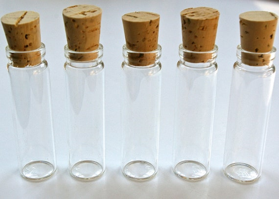 7 Vials 1/2 ounce Mini Glass Bottles with Corks for Potions, Message in a Bottle, Dollhouse, Favors, Perfume, Samples, Seasonings