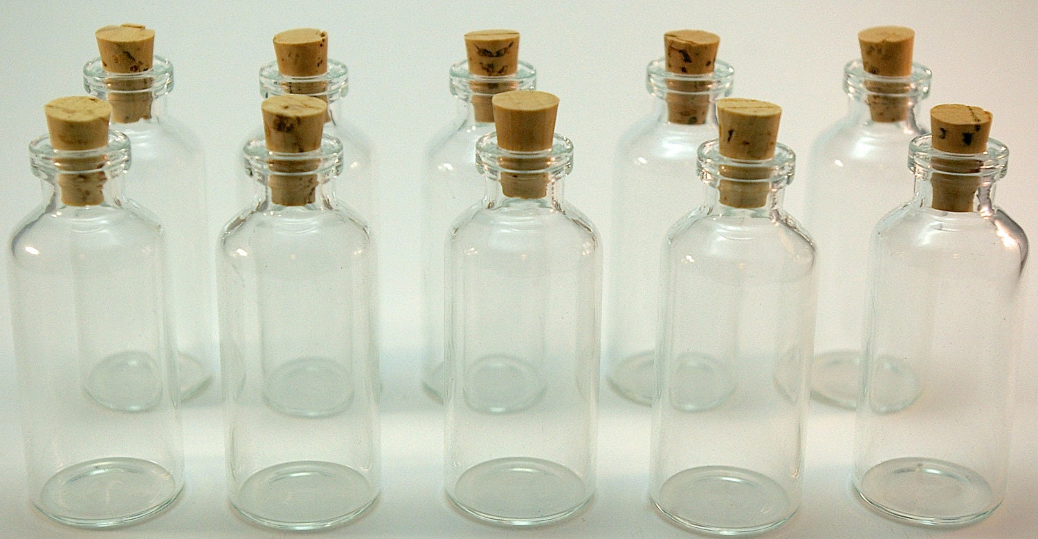 10 Mini Glass 10 Ml Bottles With Corks For DIY Wedding Favors