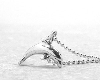 Dolphin Necklace, Small Dolphin Necklace, Dolphin Jewelry, Dolphin Pendant, Charm Necklace, Sterling Silver Jewelry, Sterling Silver Dolphin