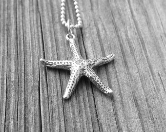 Starfish Necklace, Sterling Silver Starfish Necklace, Starfish Pendant, Starfish Jewelry, Charm Necklace, Sterling Silver Jewelry