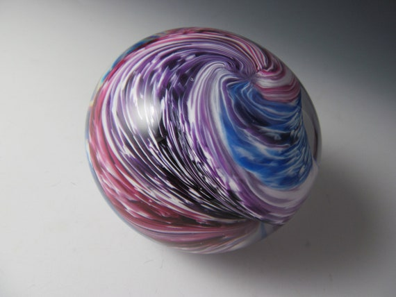 Paperweight - Glass Paperweight - Purple Cranberry Blue White