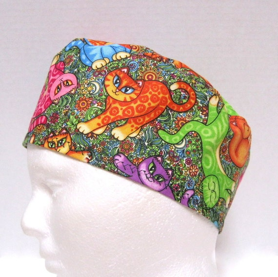 Bright Cats Colorful Surgical Scrub Hat
