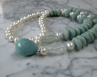Amazonite, Pearl and Aquamarine Natural Crystal and Stone Throat Chakra Healing Necklace