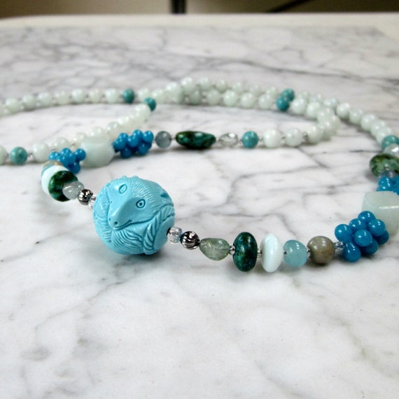 Wolf Fetish Natural Stone and Crystal Throat Chakra Healing Necklace