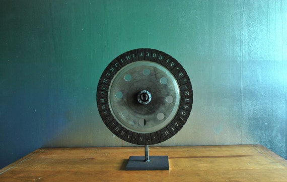 Font Wheel (with stand), Vintage Letters, Font Wheel Sculpture, Art Object, Vintage Fonts