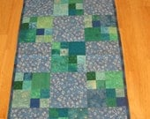 Blue and Green Four Patch Stars Quilt
