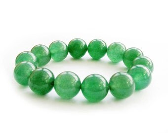 12mm 14 Emerald Green Stone Beads Stretchy Jewelry Bracelet Charm  T2856