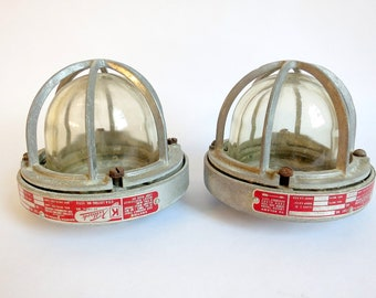 Vintage Industrial Explosion proof Light Shades pair