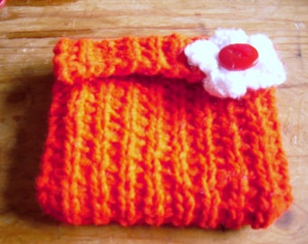 Hand Knitted Coin Purse, Red Coin Purse, Recycled Coin Purse