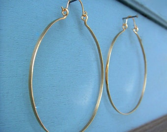 "3"" Gold Hinged Hoop Earring Large Gold Hoops Hammered Wire Jewelry Tribal Jewelry 1.5"", 2"", 2.5"", 3"", 3.25"" Hoops"