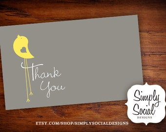 INSTANT DOWNLOAD Baby Bird Theme Baby Shower Thank You Card Grey and Yellow