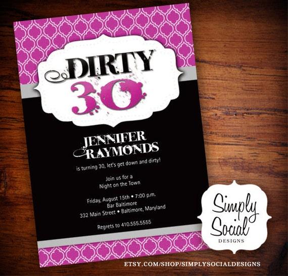 Items Similar To Dirty 30 Birthday Party Invitation On Etsy