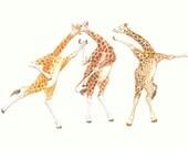 Giraffe ACEO Art Card Dancers Social Wildlife Playful African Animal Love Partners Illustration