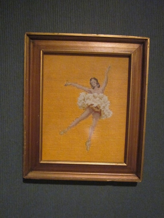 Vintage Framed Needlepoint Ballerina