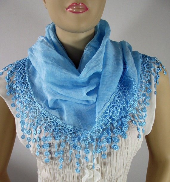 Cyan Blue Scarf....pashmina scarf....cowl with lace edge....fringed scarf......euro fashion chic.....bridesmaid gift