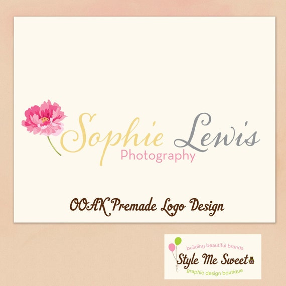 Logo Design Premade OOAK- Beautiful Peony Flower Hand Drawn Small Business Photography Photographer Logo Never Resold