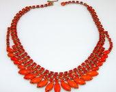 Vintage Orange Rhinestone Necklace Choker Large