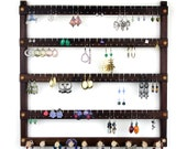 Wooden Peruvian Walnut Wall Mount Jewelry Holder.  Holds 96 Pairs Plus 10 Peg Necklace Rack.  Earring Holder - Earrings Display.