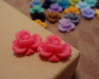 SALE - 20pcs of Matte Begonia Pink- Rainbow Iris Rose -CMVision Exclusive-11.5mm Resin Flower Rf05 07