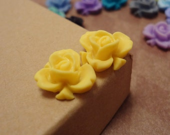 20pcs (Matte Lemon Yellow) Rainbow Iris Rose -CMVision Exclusive-11.5mm Resin Flower Rf05 11