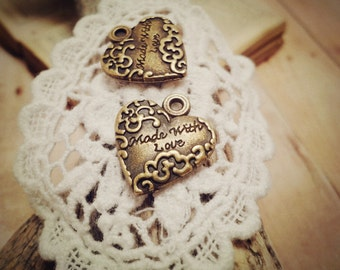 10pcs of Antiqued Bronze Made With Love Heart Shaped Signature Charms 18mm extender drop P15-HK9520