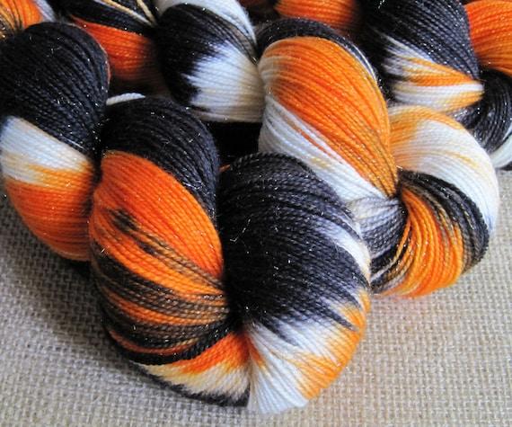 Smell My Feet - SW Merino, Nylon & Stellina Fingering Sparkle Yarn - 438 yds - Hand Dyed Halloween Yarn