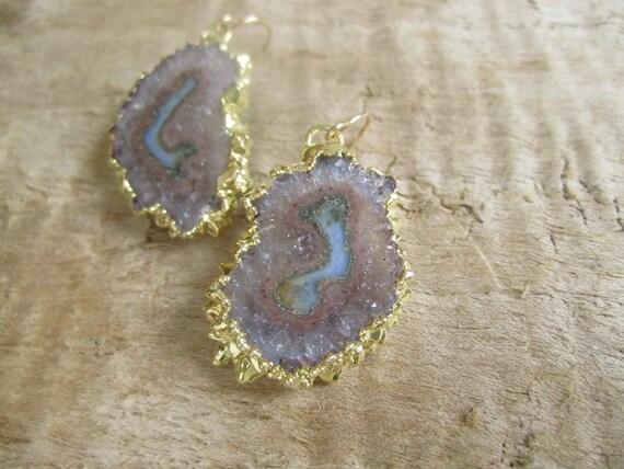 Agate Geode Earrings Amethyst Drusy Quartz Stalactite Slice