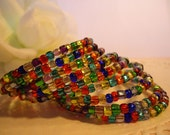 Colors of Christmas Wrap Bracelet with Red, Green, Gold, and Blue and More
