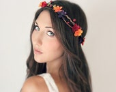 Autumn Flower Crown, Fall Wedding Tiara, wedding accessories, bridal flower, red, purple, orange, yellow by DeLoop