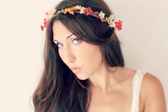 Autumn Flower Crown, Fall Wedding Tiara, wedding accessories, bridal flower, red, purple, ivory