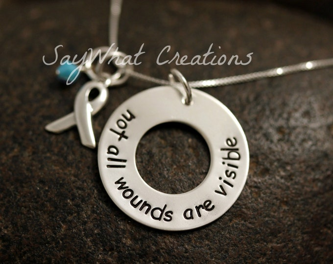 "Sterling Silver ""not all wounds are visible"" Necklace"