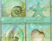 """She Sells Seashells, Coastal ATC Background Cards Labels Tags Jewelry  Hangtags Beach 2.5"""" Squares, Digital Collage Sheet"""