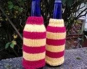 Bottle cozy, set of 2, San Francisco 49ers team colors inspired, vegan