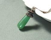 Green aventurine necklace, spiritual jewelry, healing stone copper pendant, rustic jewelry