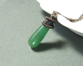 Green aventurine necklace, spiritual jewelry, healing stone copper pendant, rustic jewelry