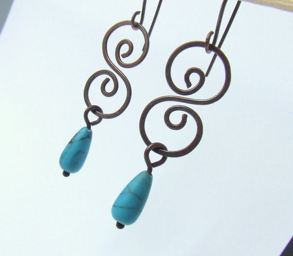 Turquoise howlit dangle earrings, stone rustic copper wire wrapped jewelry