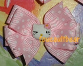 M2M Custom Boutique Hello Miss Kitty Pink Polka Dot Hair Bow Barrette Clippie Clip Toddler