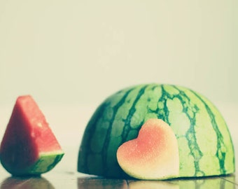 Food Photography Kitchen art: Summer melon Fine Art Heart Kitchen, decor fruit still life photography fruit wall Kitchen wall art fruit