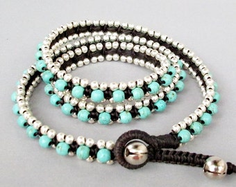 Triple Wrap Bracelet with Turquoise Stone  and Silver Colour Bead W174