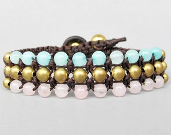 Mini Triple Row Macrame Bracelet with Rose and Blue Quartz Bead B185