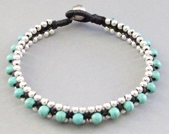 Summer Day Knot Bracelet with Turquoise and Silver Colour Bead