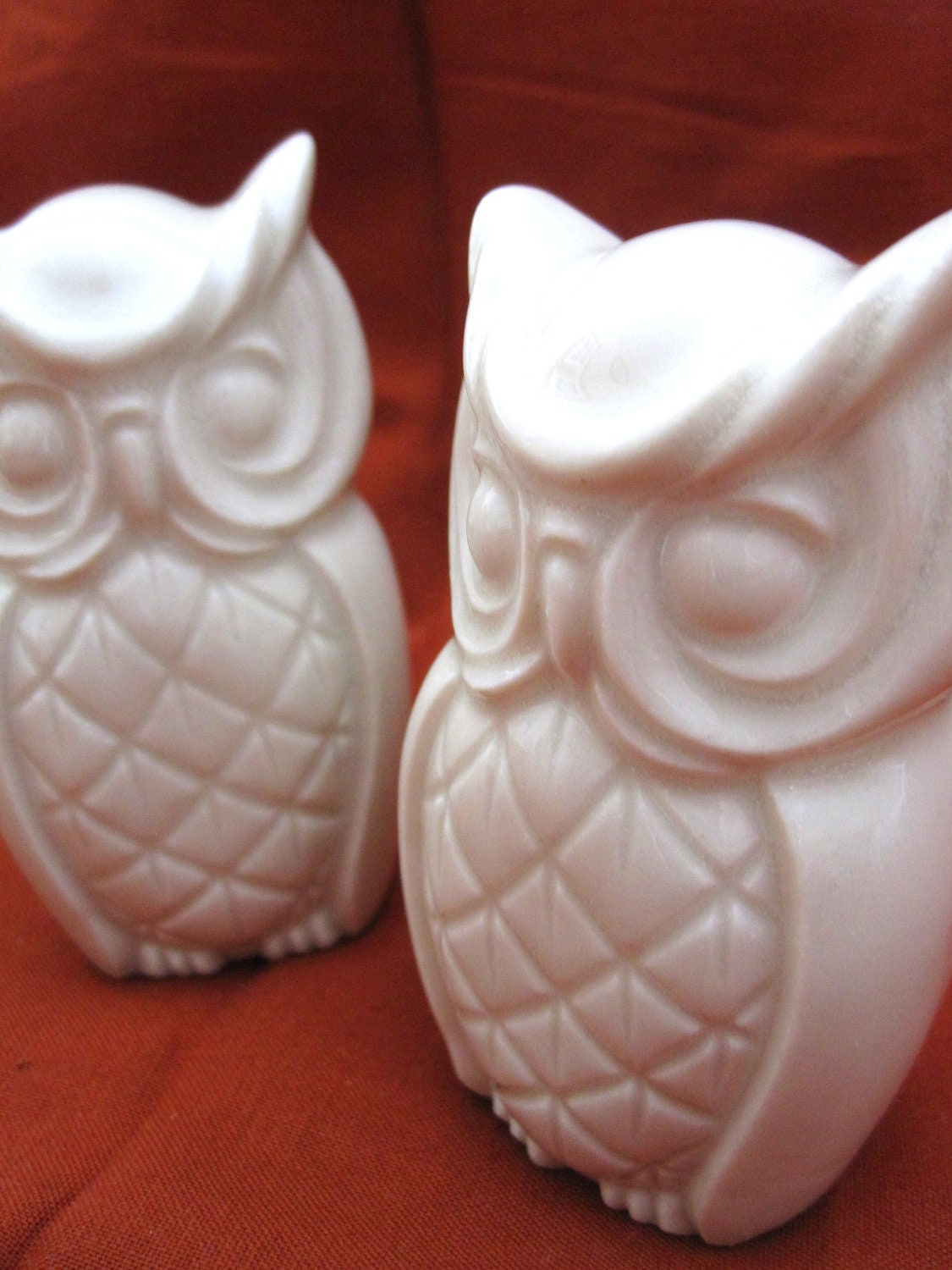 White Porcelain Owl Figurine Place Marker By Whitefoxstudio