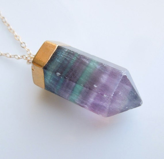 Optical Green And Purple Striped Quartz Necklace In Gold