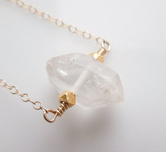Shine Bright Like a Diamond, Herkimer Diamond Quartz Necklace in Gold