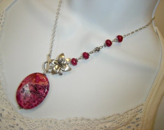 Pink Crazy Lace and Orchid Flower Necklace