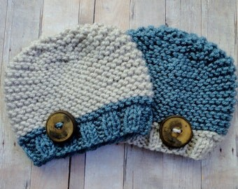 Baby Hats Beanie in Blue and Linen with Beautiful Handmade Wooden Button Newborn Hat Shabby Chic Hippie Style Baby Photo Prop