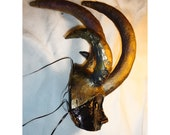 black and gold Masquerade paper mache clay horned Helmet Mask, Handmade, handpainted, ooak, halloween mask, Horned mask