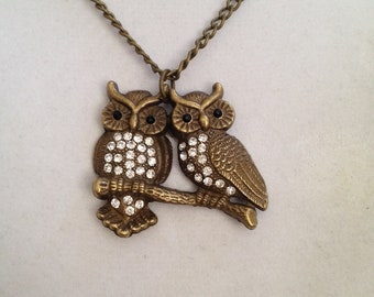 Owl and Crystal Necklace