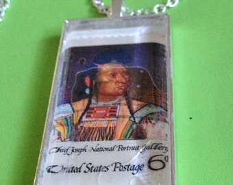 Indian Chief Stamp Pendant Necklace